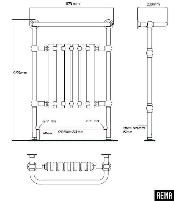 VICTORIA CLASSIC Håndklæderadiator 675/960-1103